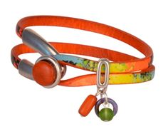 Oranges in Paradise Flat Leather Bracelet - to see all project components please go to AntelopeBeads.com