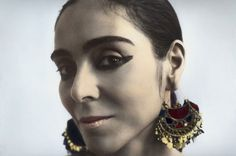Shirin Neshat-New York Hand coloured gelatin silver print by Youssef Nabil Iranian Film, Iranian Art, Shirin Neshat, Middle Eastern Art, Gelatin Silver Print, Big Earrings, Life Inspiration, Hand Coloring, Travel Style