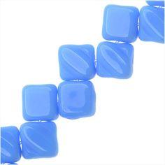 CZECH GLASS 2 HOLE SILKY BEADS 6MM DIAMOND SHAPE OPAQUE BLUE 1 STRAND from beadaholique.com