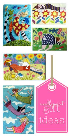 Gift ideas for a best friend. Small needlepoint kits that are fun to stitch and delightful when finished and framed.