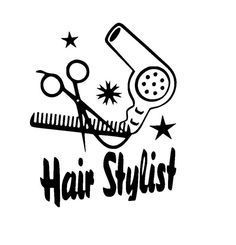 Hair Stylist with Scissors, Comb and Hair Dryer Sticker Vinyl Decal by…
