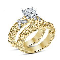 4Prong Setting Round Cut D/VVS1 Diamond Disney Womens Engagement Bridal Ring Set #Aonejewels