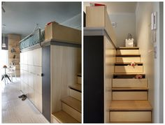 his 273ft2/22m2 apartment in Warsaw is home for a small family, and although space is scarce the apartment doesn't feel cramped.  Storage and bed is combined in a big box and there is easy access to the loftbed (even for a dog) because there's a proper staircase leading up to the bed. In the staircase are built-in drawers.