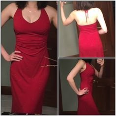 Hi-lo red glitter gown 90% polyester , 10% spandex. Lining 100% polyester .  In great condition. Size Small . Final sale. Dresses Prom