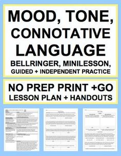 Mood Tone Connotation: NO PREP Lesson Plan & Student Materials: NO PREP Print & Go: MOOD vs. TONE + CONNOTATIVE LANGUAGE Lesson Plan & Student Materials.Everything you need to teach in a fun & engaging way!! #moodandtonelesson #connotationlesson