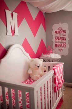 Love the chevron wall…Maybe Pink & Grey Nursery Pink And Gray Nursery, Pink Grey, Hot Pink, Chevron Nursery Girl, Taupe Nursery, Purple, White Nursery, Coral Pink, Blue Orange