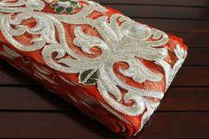 Orange Net Fabric Trim-Embroidered Fabric Trim-Designer Fabric Silk Sari Border Trim-Crazy Quilt Trims-Orange Net Fabric Ribbon By The Yard