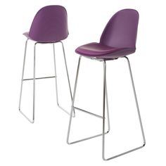 Lorraine Faux Leather 32 Barstool - Purple (Set of 2) - Christopher Knight Home