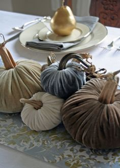 fall tablescapes with mercury glass pumpkins | An Elegant Holiday Tablescape ~ And A DIY Table Runner — High Heels ...