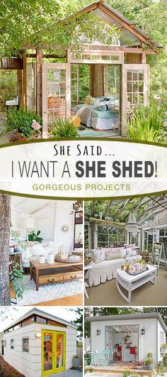 She Said : I Want a SHE SHED! • A great round-up of fabulous She Shed DIY tutorials and inspiring ideas! www.mancavegenius...