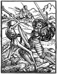 The Soldier, Hans Holbein the Younger, from his Dance of Death 41 woodcuts (1523–26).
