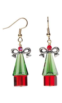 Jewelry Design - Earrings with Swarovski Crystal Beads, Celestial Crystal® Beads and Antiqued Pewter Bow Beads - Fire Mountain Gems and Beads