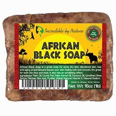 #1 Best African Black Soap - Raw Organic Soap For Acne, Eczema, Dry Skin, Psoriasis, Scar Removal, Face and Body Wash, Authentic 1lb (16oz) Beauty Bar From Ghana West Africa - Incredible By Nature