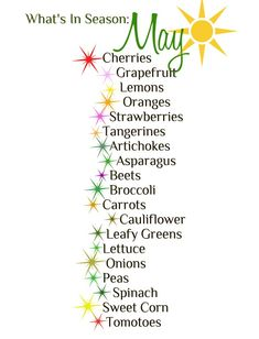 Handy guide the the beautiful fruits and vegetables in season throughout the month of May!