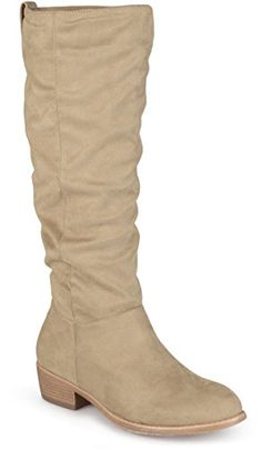 b7f2d75801f7f7 Journee Collection Womens Faux Suede Secret Pocket Heeled Boots Taupe 9     Click on the