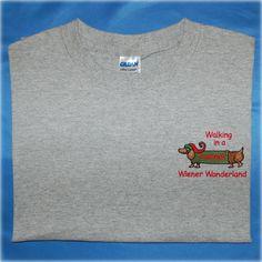 Walking In A Wiener Wonderland Short Sleeve Tee by EmbroideryStation1 on Etsy
