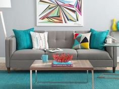 Top 15 Amazing Colorful Living Room Design And Decoration Ideas 16 Living Room Turquoise, Blue Living Room Decor, Best Living Room Design, Colourful Living Room, Living Room Paint, Living Room Colors, Living Room Grey, Decor Room, Rugs In Living Room