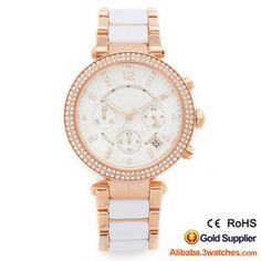 3W-DW209, Rose Gold Case White Dial Diamond Women Watch, click picture to create your own brand watch.