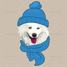 Cartoon Hipster Samoyed Dog Smile