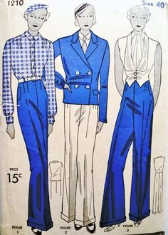 RARE 30s Marlene Dietrich Menswear Deco Suit Pattern Simplicity 1210 High Waist Wide Leg Trousers Nautical Double Breasted Jacket Tuxedo Vest Tailored Shirt Power Pants Suit Bust 40 Vintage Sewing Pattern