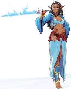 Laiko by EymBee Magic sword sorcerer wizard Eldritch knight Fantasy Girl, Fantasy Races, Fantasy Rpg, Fantasy Artwork, Fantasy Character Design, Character Creation, Character Design Inspiration, Character Concept, Character Art