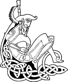 Example of a figure included in knotwork. Viking Designs, Celtic Designs, Celtic Symbols, Celtic Art, Scottish Thistle Tattoo, Celtic Nations, Modern Tattoos, Wood Carving Patterns, Viking Art
