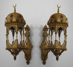 2 Pair of Middle Eastern Moorish style (1st ¼ 20th Cent) 6-sided bracket lantern wall sconces with embossed brass & fretwork design & glass jewels inset in top