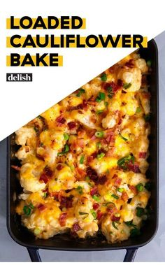 This loaded cauliflower casserole is so easy to make. It's cheesy and has lots of bacon. You'll love making this recipe this fall! Loaded Cauliflower Bake - Loaded Cauliflower Bake Is The Low-Carb Side You've Been Waiting ForDelish Side Dish Recipes, Vegetable Recipes, Low Carb Recipes, Vegetarian Recipes, Cooking Recipes, Healthy Recipes, Recipes Dinner, Cooking Tips, Cooking Chef