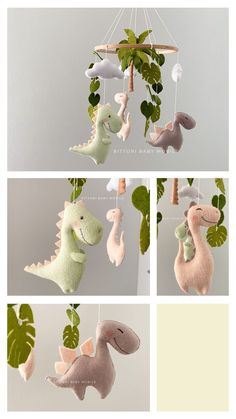 Handmade Baby Gifts, New Baby Gifts, Expecting Mom Gifts, Diy Bebe, Dinosaur Gifts, Dinosaur Nursery, Baby Crib Mobile, Felt Toys, Unique Baby