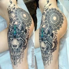 Mandala Wolf Hip and Thigh Tattoo