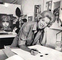 Margaret Keane, the artist who painted the children and animals with huge eyes. Once she became a Jehovah's Witness she looked at life differently, and now her paintings are full of smiles, happiness.