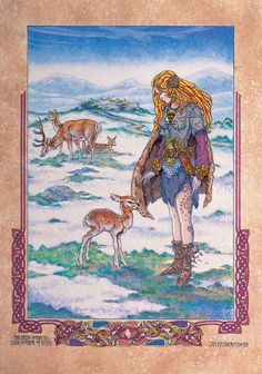 Fantasy Art Print from my original painting 'Deer Goddess Lir Lakeside'. This original artwork is based on the Celtic art, myths and legends of Ireland Mythology Books, Irish Mythology, Irish Celtic, Celtic Art, Jim Fitzpatrick, Deer Art, Celtic Dragon, Goddess Art, Celtic Designs