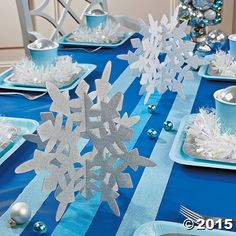 Glitter Snowflake Centerpieces - Oriental Trading Make your winter wonderland come to life with these beautiful Glitter Snowflake Centerpieces! Perfect for a winter-themed event, these sparkly party d . Winter Birthday Parties, Frozen Themed Birthday Party, Birthday Party Decorations, Holiday Parties, Winter Party Decorations, Frozen Party Table, Frozen Party Favors, 2nd Birthday, Winter Parties