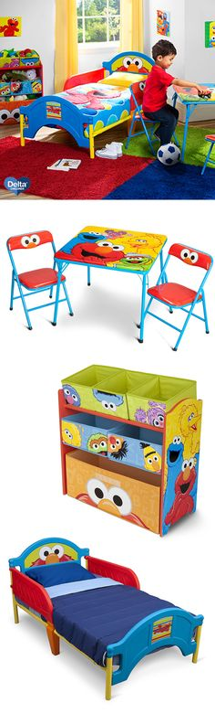 Bring Sesame Street to your toddler's bedroom with this amazing collection from Delta Children, including Elmo, Cookie Monster, Big Bird, Abby and more fun friends from the block! The Sesame Street Folding Table & Chair Set is perfect for drawing and learning with a friend. Make clean up time easy and store toys neatly in the Sesame Street Multi-Bin Toy Organizer! #elmo #sesamestreet #toddler #bedroom #furniture #DeltaChildren