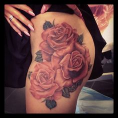 Roses tattoo. Hip placement