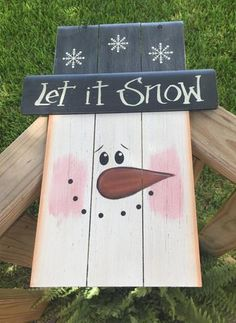 Primitive Snowman Decor 6241LIS - Snowman Let it Snow Top Hat and Face Wood