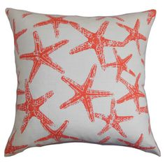 Featuring a starfish motif and down-feather fill, this chic cotton pillow brings coastal style to your decor. Made in the USA.    Produ...