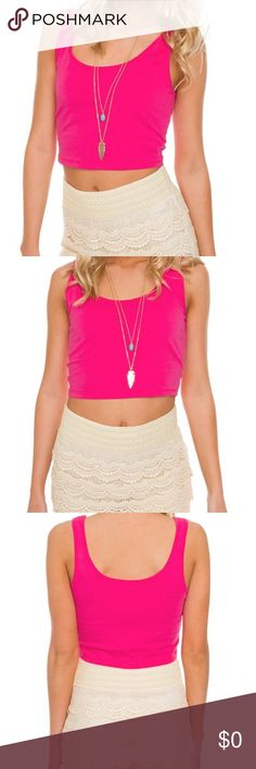 •It's Britney Crop Top• Oops. We did it again! We gave you yet another top to lust over. This it's Britney's crop top in pink features a scoop-neck front and back, tank sleeves, crop fit, stretch fabric & finished hem. Wear this with a pair of denim distressed shorts, some BoHo style sandals, a colorful necklace & a messy bun for a super fun and bright spring look! Tops Crop Tops
