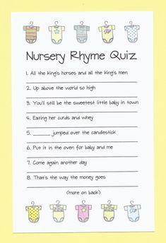 Nursery Rhyme Quiz Baby Shower Game Do You by CardsByKooper