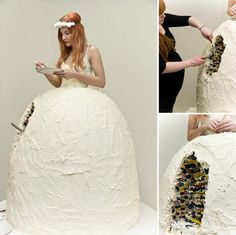 NEW FAD FOR WEDDINGS THIS YEAR FOLKS! THE BRIDE'S DRESS IS ALSO THE WEDDING CAKE! IT'S A WIN/ WIN SITUATION