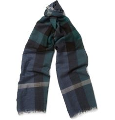 Burberry Shoes & Accessories - Check Fine Wool and Silk-Blend Scarf|MR PORTER