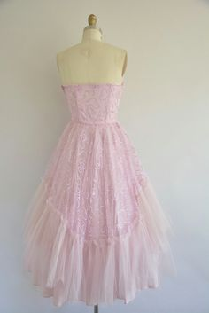 dress tulle strapless pink