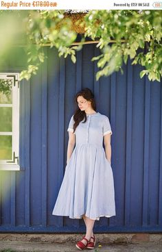 Linen Dress for Women, Casual Dress, Shirt Dress, Light Blue Linen Dress, Womens Linen Clothing, Custom Dress, Flare Dress, Nautical Dress by SondeflorShop on Etsy https://www.etsy.com/listing/261258313/linen-dress-for-women-casual-dress-shirt