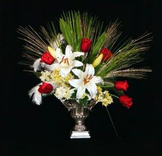 White Lily & Red Tulips Christmas Silk Floral Arrangement