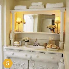 Sideboard vanity A mirrored dining room buffet replaces both a run-of-the-mill medicine chest and a sink cabinet. Decor, Country Style Bathrooms, Furniture, House, Home, Dining Room Buffet, New Homes, Repurposed Furniture, Beautiful Bathrooms