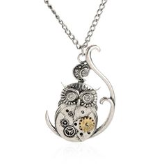 Amazing vintage steampunk owl pendant necklace retro punk jewelry will meet all your needs for those situations. hellojewelry provides all kinds of fancy heart necklace, costume jewelry and lockets. Mens Silver Jewelry, Punk Jewelry, Owl Jewelry, Vintage Jewelry, Animal Jewelry, Jewelry Watches, Owl Pendant, Pendant Jewelry, Pendant Necklace
