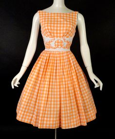 1950s Orange Gingham Dress http://vintage-martini.myshopify.com/collections/womens-clothing-1950s/products/1950s-orange-gingham-dress-new-item