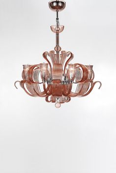 Blown Glass Chandelier Amber/Blush Color Three by MelroseGallery