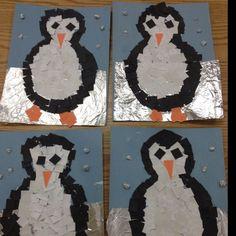 Portada invierno. Dibujar pingüinos tapa álbum escolar