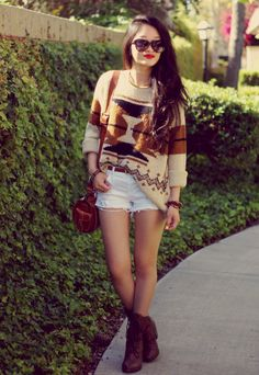 Love this shorts and sweater combo
